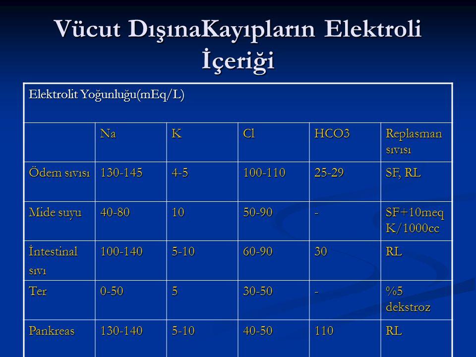 Vücut DışınaKayıpların Elektroli İçeriği