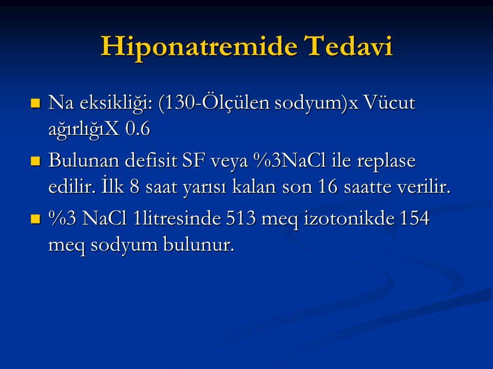 Hiponatremide Tedavi Na eksikliği: (130-Ölçülen sodyum)x Vücut ağırlığıX 0.6.