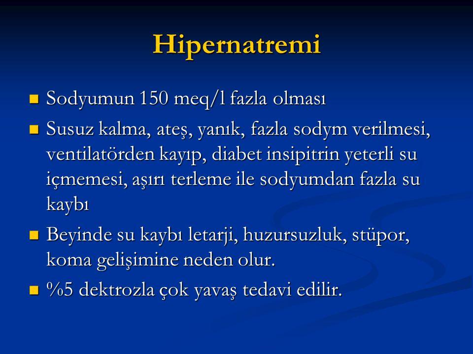 Hipernatremi Sodyumun 150 meq/l fazla olması