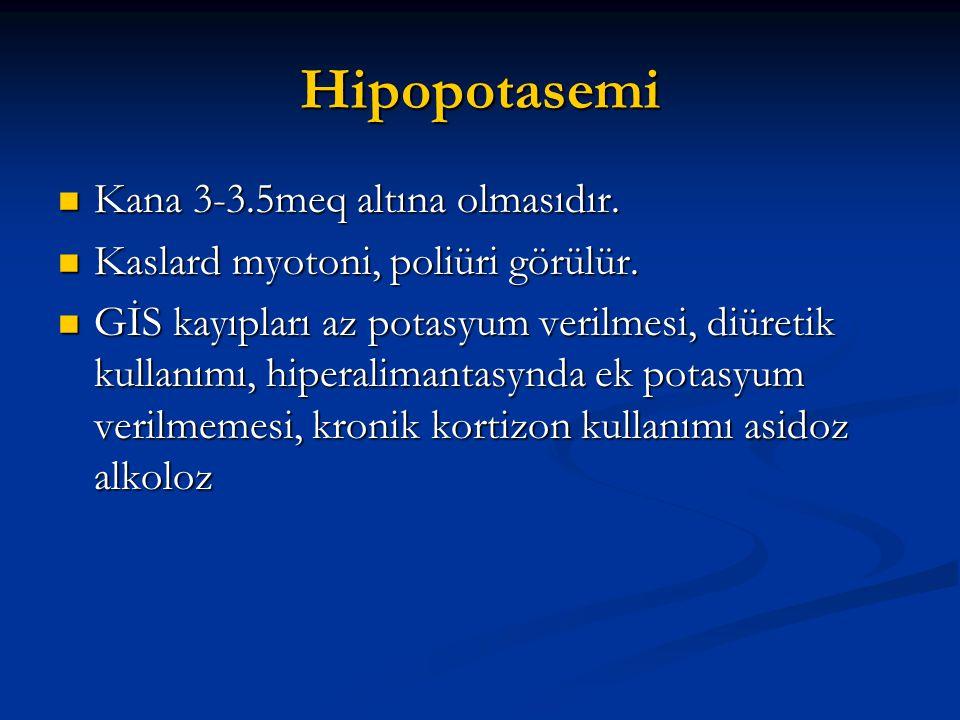 Hipopotasemi Kana 3-3.5meq altına olmasıdır.