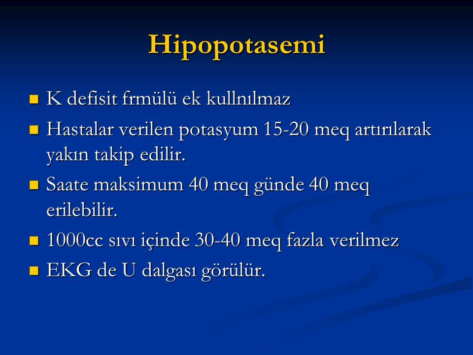 Hipopotasemi K defisit frmülü ek kullnılmaz