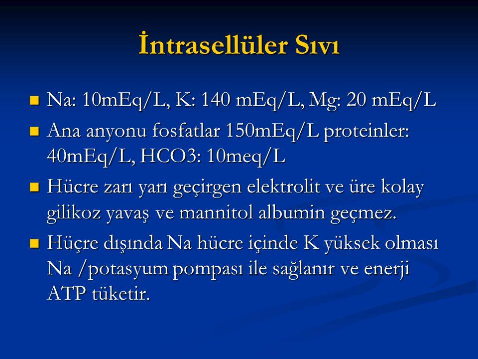 İntrasellüler Sıvı Na: 10mEq/L, K: 140 mEq/L, Mg: 20 mEq/L