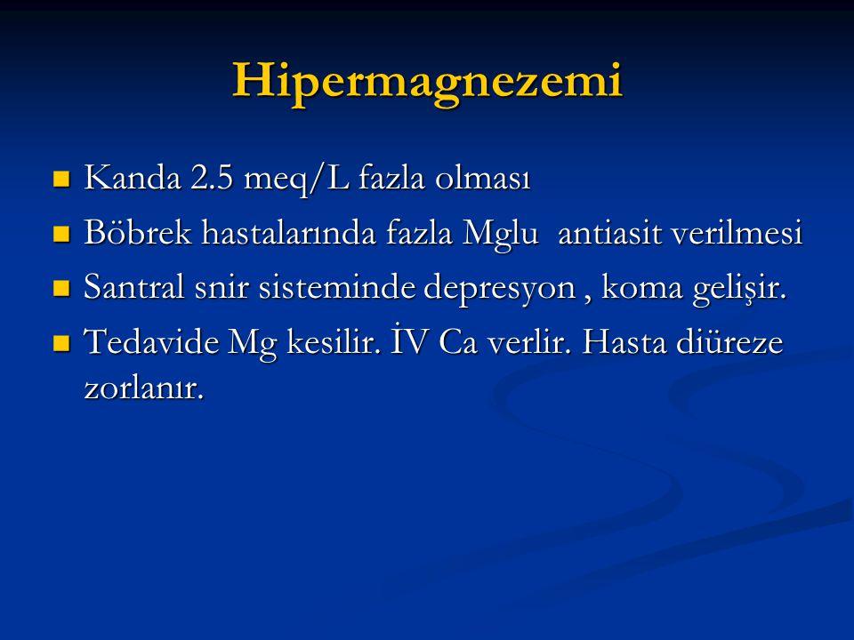 Hipermagnezemi Kanda 2.5 meq/L fazla olması