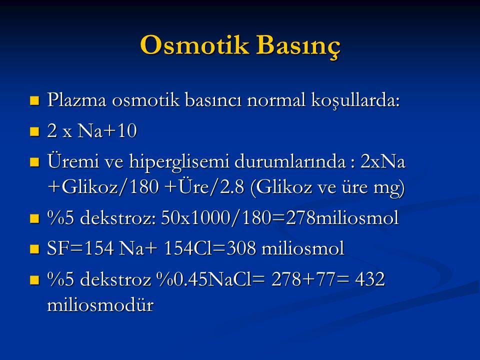 Osmotik Basınç Plazma osmotik basıncı normal koşullarda: 2 x Na+10