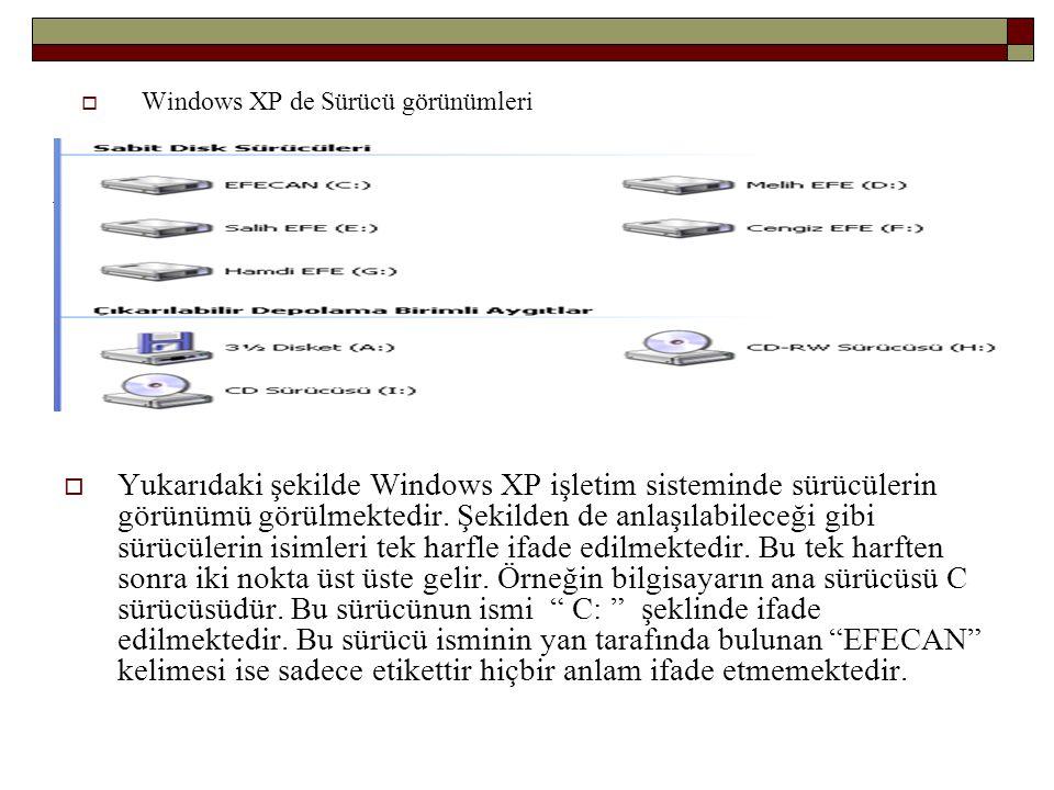 Windows XP de Sürücü görünümleri