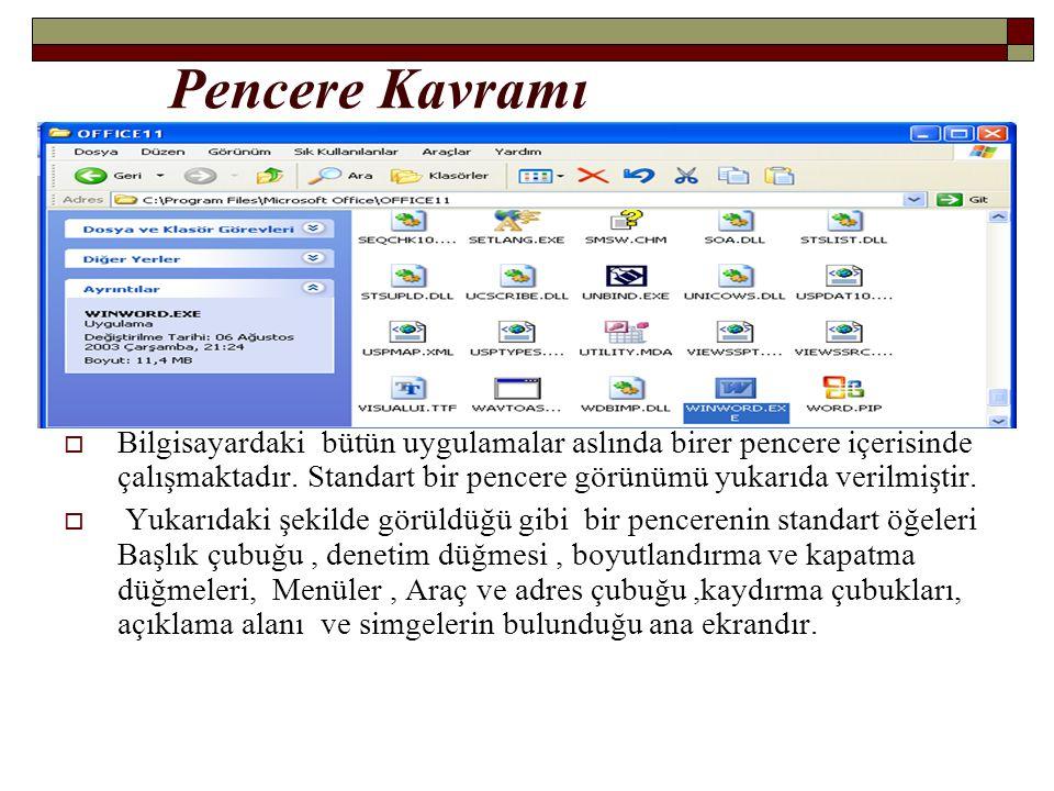 Pencere Kavramı Bilgisayardaki bütün uygulamalar aslında birer pencere içerisinde çalışmaktadır. Standart bir pencere görünümü yukarıda verilmiştir.
