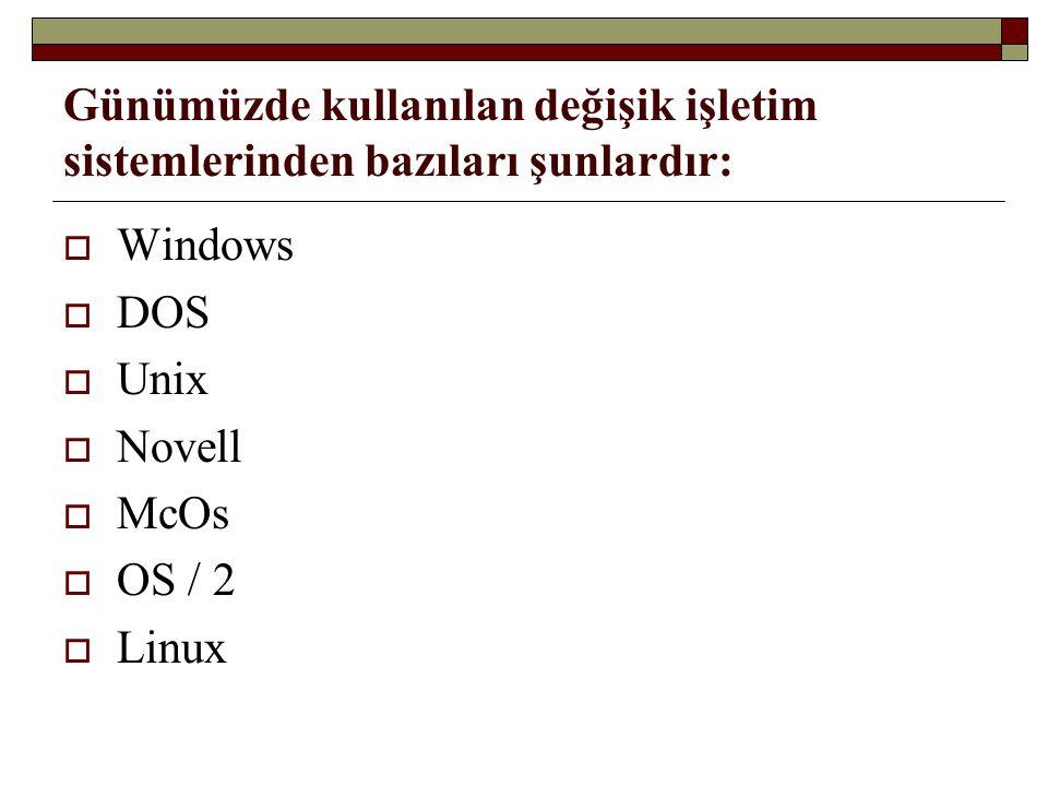 Günümüzde kullanılan değişik işletim sistemlerinden bazıları şunlardır: