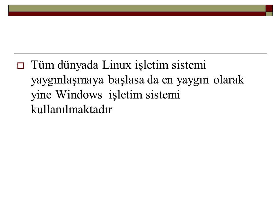 Tüm dünyada Linux işletim sistemi yaygınlaşmaya başlasa da en yaygın olarak yine Windows işletim sistemi kullanılmaktadır
