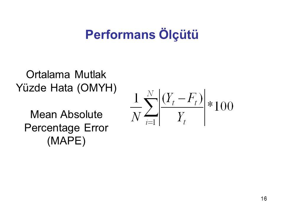Performans Ölçütü Ortalama Mutlak Yüzde Hata (OMYH) Mean Absolute Percentage Error (MAPE)