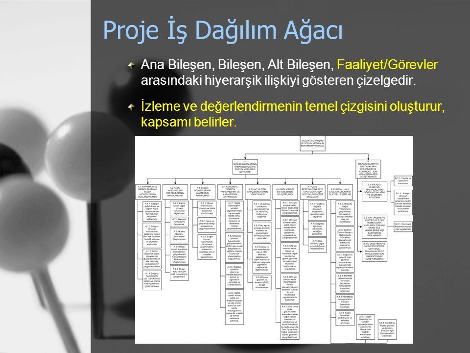 Proje İş Dağılım Ağacı Ana Bileşen, Bileşen, Alt Bileşen, Faaliyet/Görevler arasındaki hiyerarşik ilişkiyi gösteren çizelgedir.