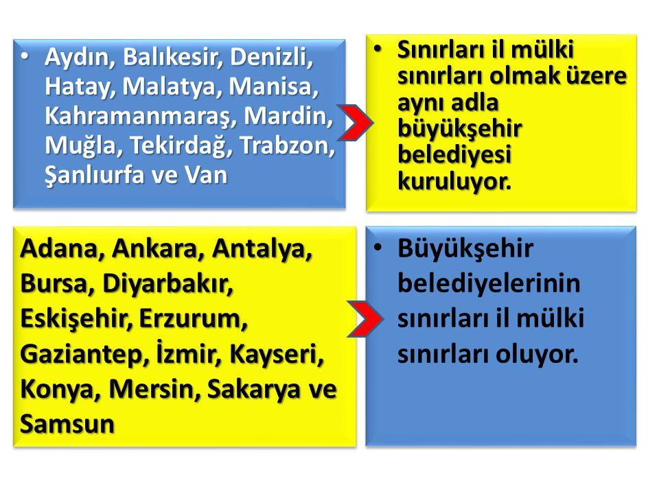 Büyükşehir belediyelerinin sınırları il mülki sınırları oluyor.