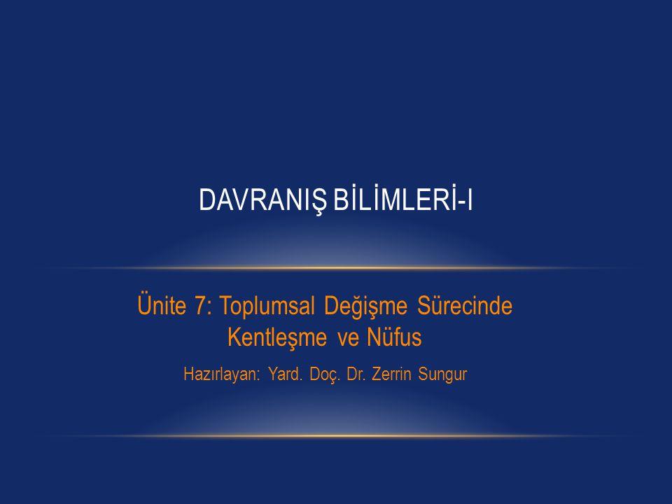 DAVRANIŞ BİLİMLERİ-I Ünite 7: Toplumsal Değişme Sürecinde Kentleşme ve Nüfus.