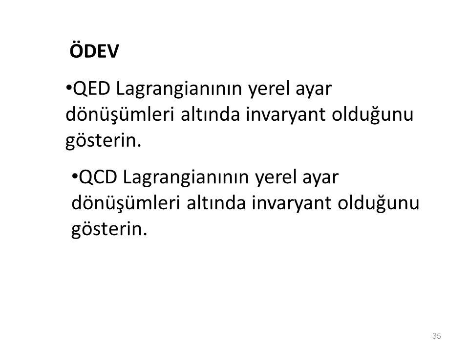 ÖDEV QED Lagrangianının yerel ayar dönüşümleri altında invaryant olduğunu gösterin.