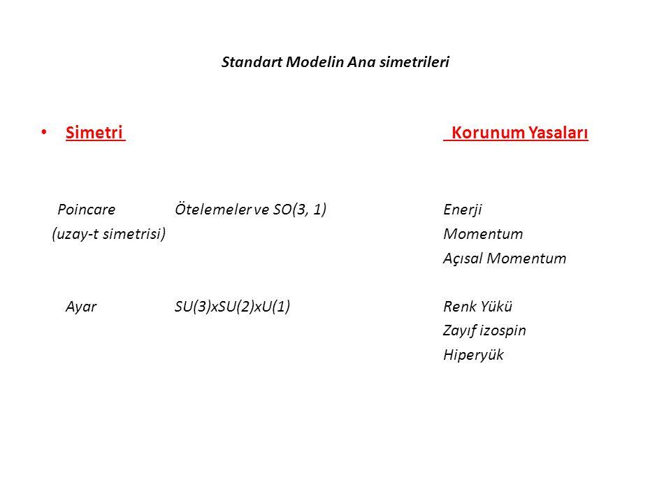Standart Modelin Ana simetrileri