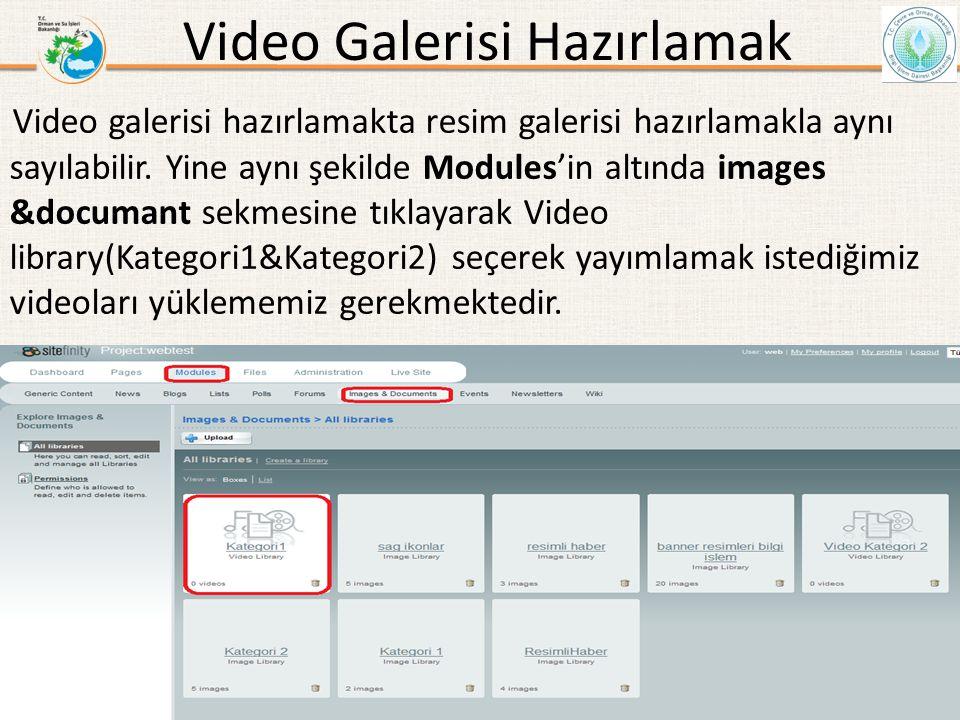 Video Galerisi Hazırlamak