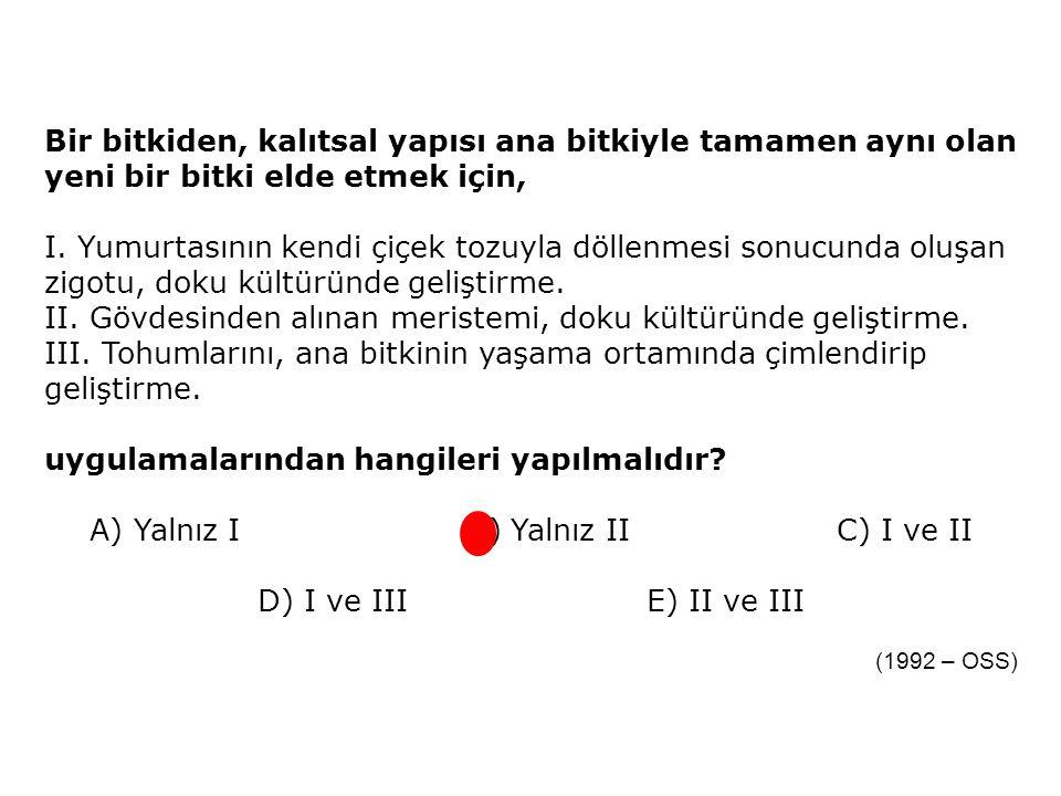 A) Yalnız I B) Yalnız II C) I ve II