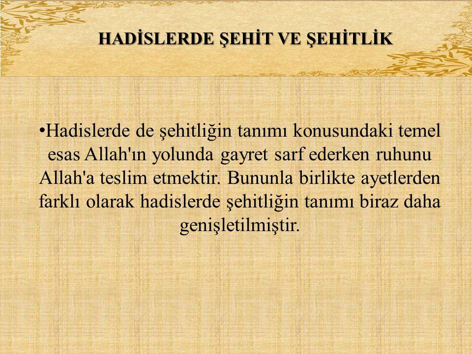 HADİSLERDE ŞEHİT VE ŞEHİTLİK