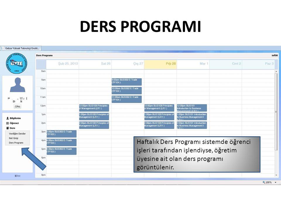 DERS PROGRAMI Haftalık Ders Programı sistemde öğrenci işleri tarafından işlendiyse, öğretim üyesine ait olan ders programı görüntülenir.