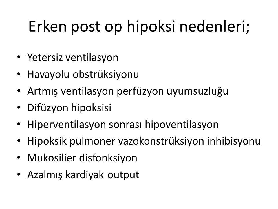 Erken post op hipoksi nedenleri;