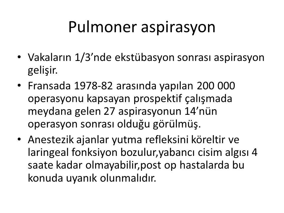 Pulmoner aspirasyon Vakaların 1/3'nde ekstübasyon sonrası aspirasyon gelişir.
