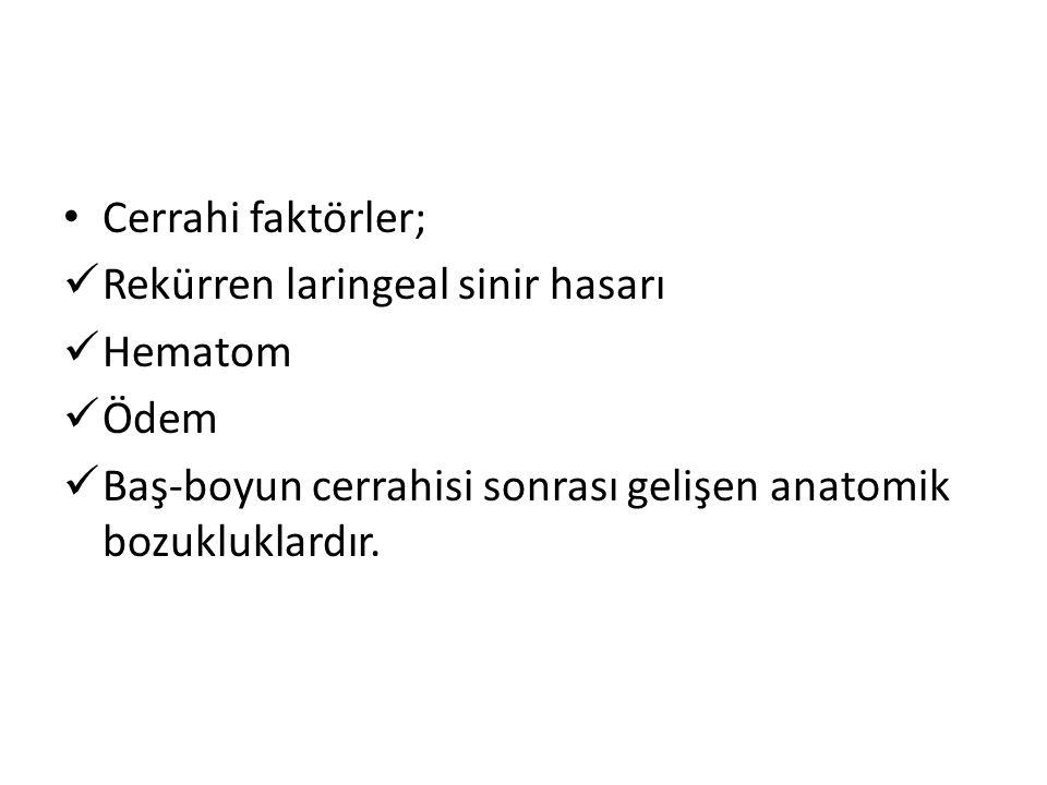 Cerrahi faktörler; Rekürren laringeal sinir hasarı.