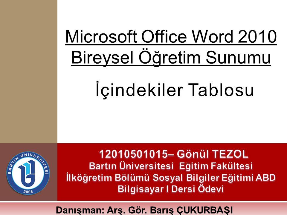 Microsoft Office Word 2010 Bireysel Öğretim Sunumu