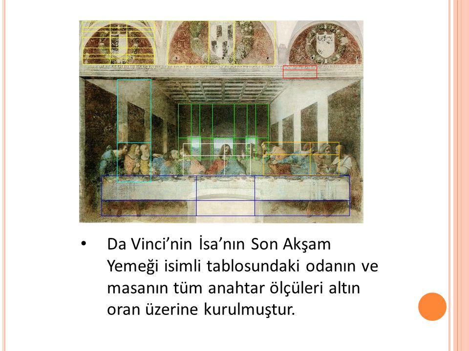 Da Vinci'nin İsa'nın Son Akşam Yemeği isimli tablosundaki odanın ve masanın tüm anahtar ölçüleri altın oran üzerine kurulmuştur.