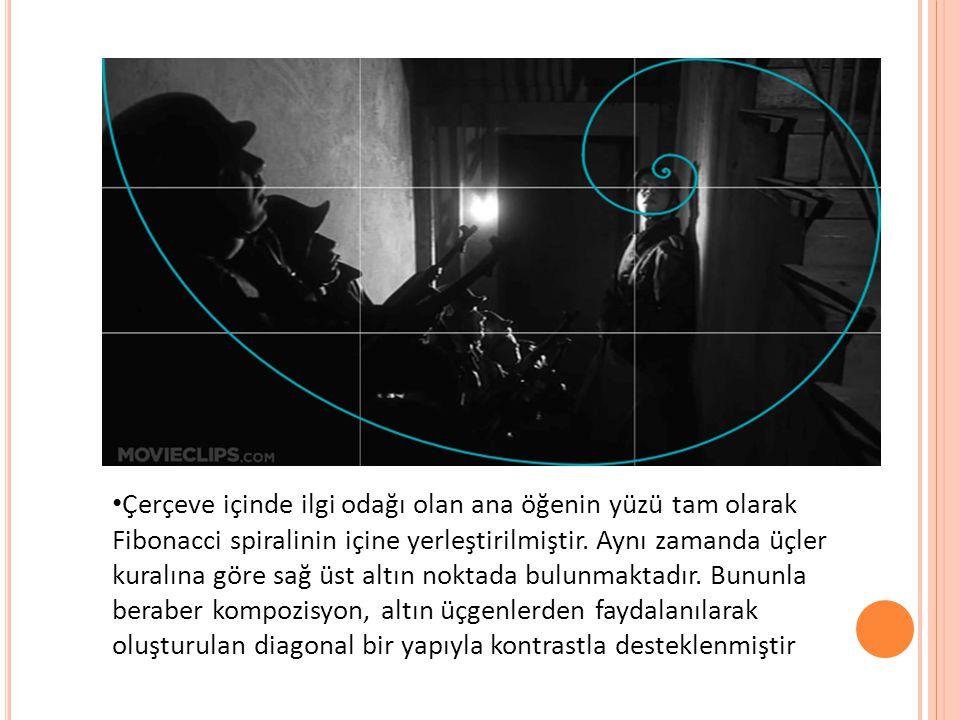 Çerçeve içinde ilgi odağı olan ana öğenin yüzü tam olarak Fibonacci spiralinin içine yerleştirilmiştir.