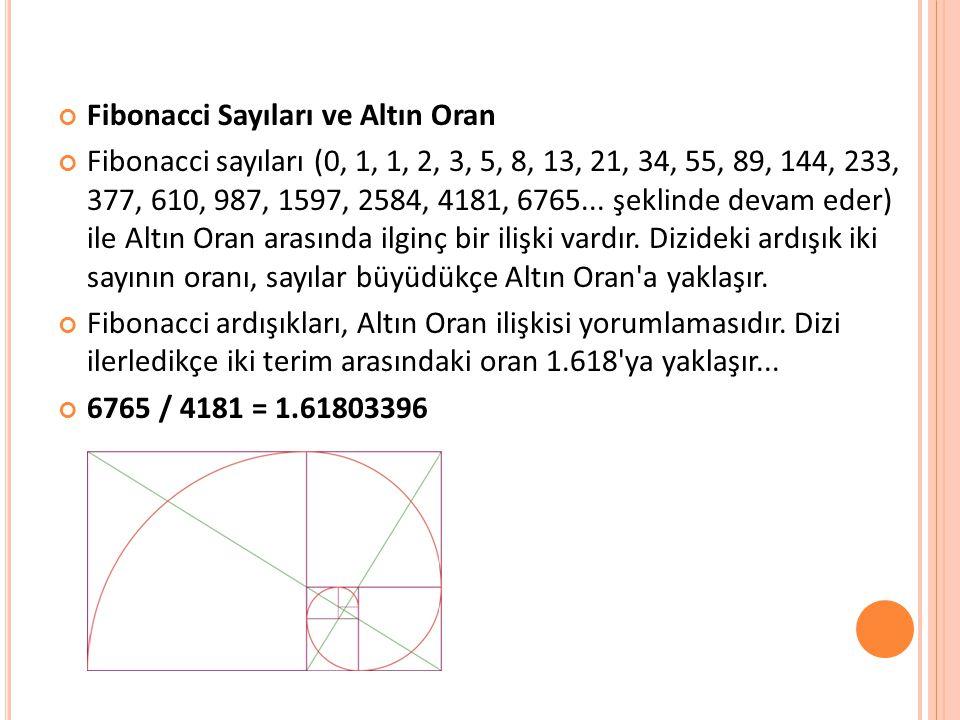 Fibonacci Sayıları ve Altın Oran