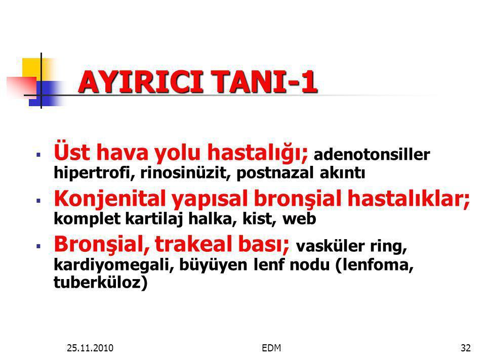 AYIRICI TANI-1 Üst hava yolu hastalığı; adenotonsiller hipertrofi, rinosinüzit, postnazal akıntı.