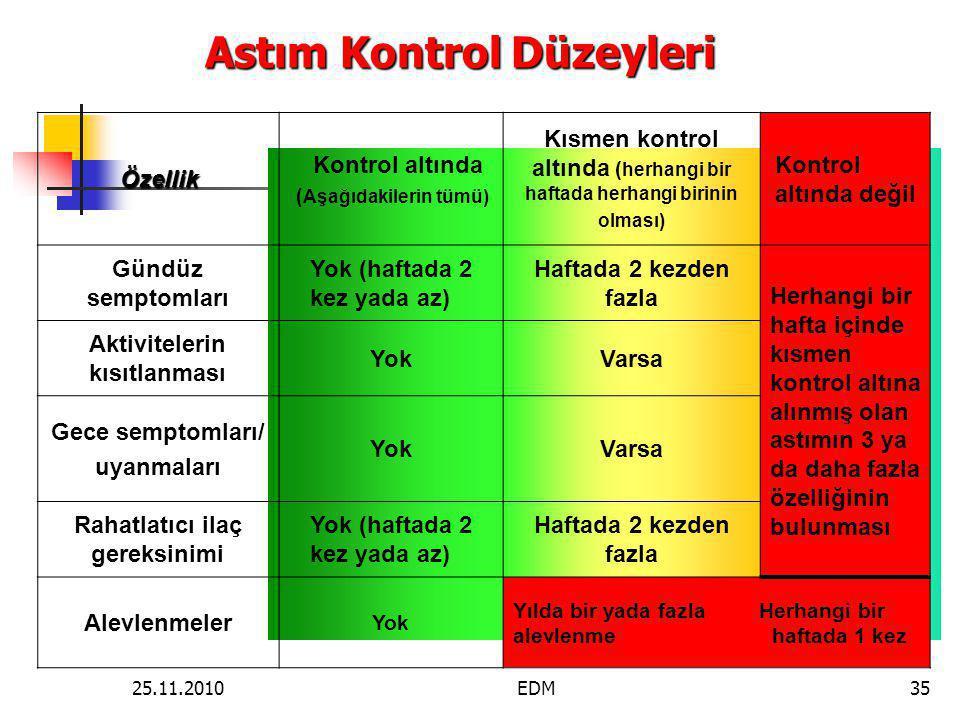 Astım Kontrol Düzeyleri