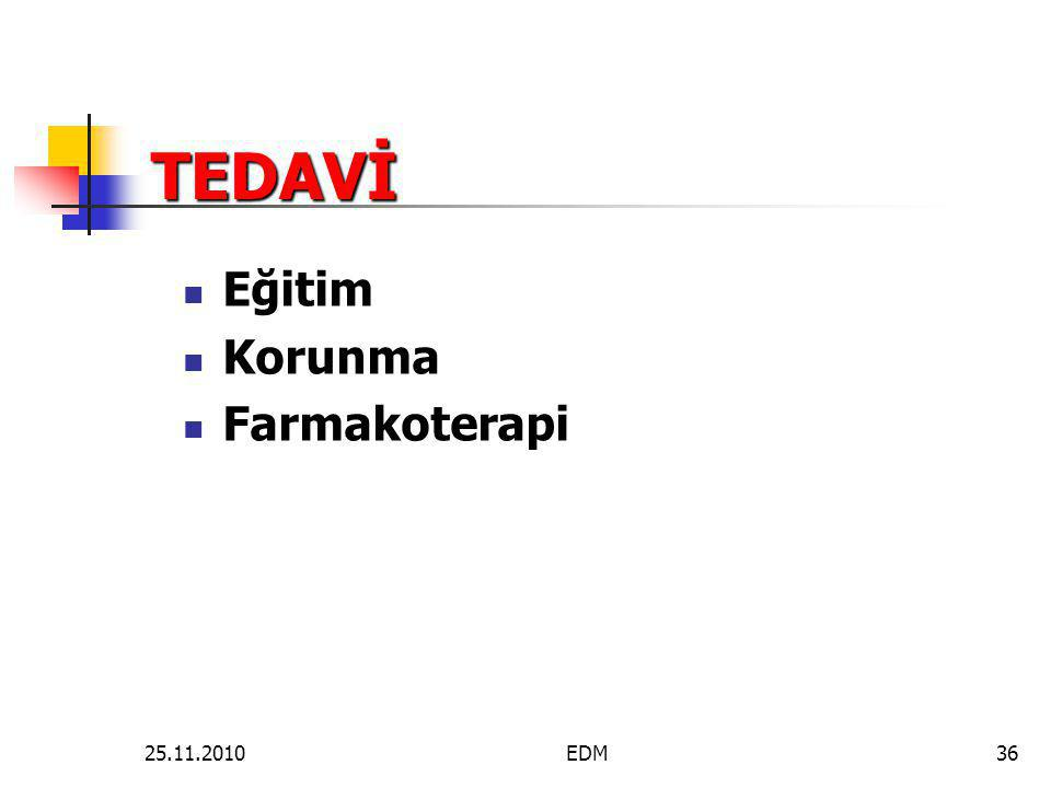 TEDAVİ Eğitim Korunma Farmakoterapi 25.11.2010 EDM