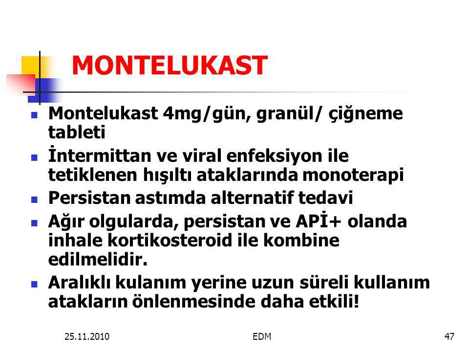MONTELUKAST Montelukast 4mg/gün, granül/ çiğneme tableti