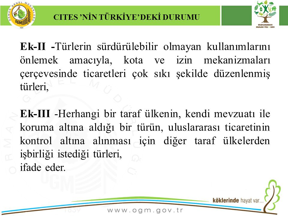 CITES 'NİN TÜRKİYE' DEKİ DURUMU