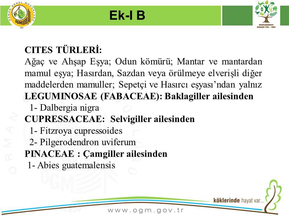 Ek-I B Kurumsal Kimlik. 16/12/2010. CITES TÜRLERİ: