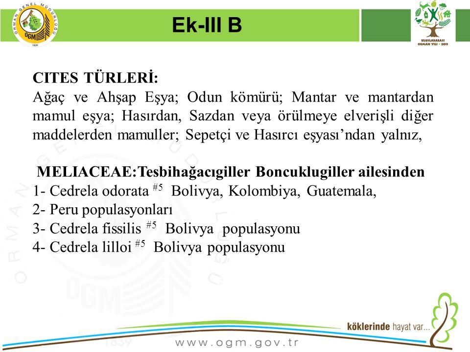 Ek-III B CITES TÜRLERİ: