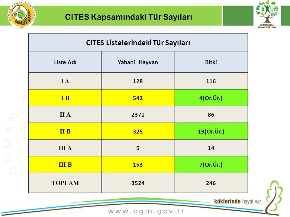 CITES Kapsamındaki Tür Sayıları CITES Listelerindeki Tür Sayıları