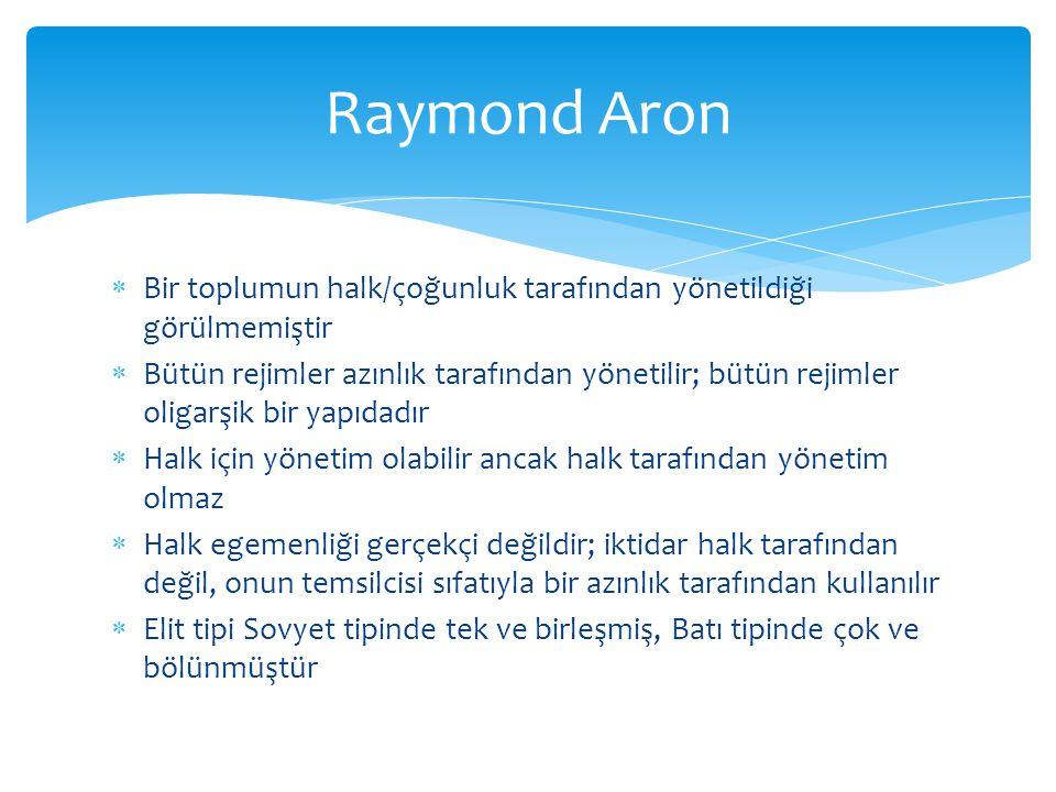 Raymond Aron Bir toplumun halk/çoğunluk tarafından yönetildiği görülmemiştir.