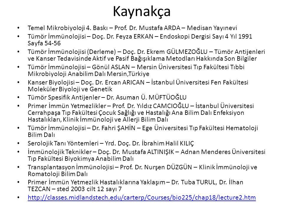 Kaynakça Temel Mikrobiyoloji 4. Baskı – Prof. Dr. Mustafa ARDA – Medisan Yayınevi.