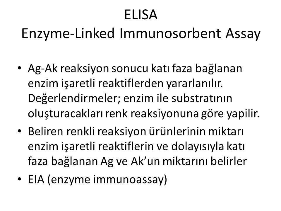 ELISA Enzyme-Linked Immunosorbent Assay