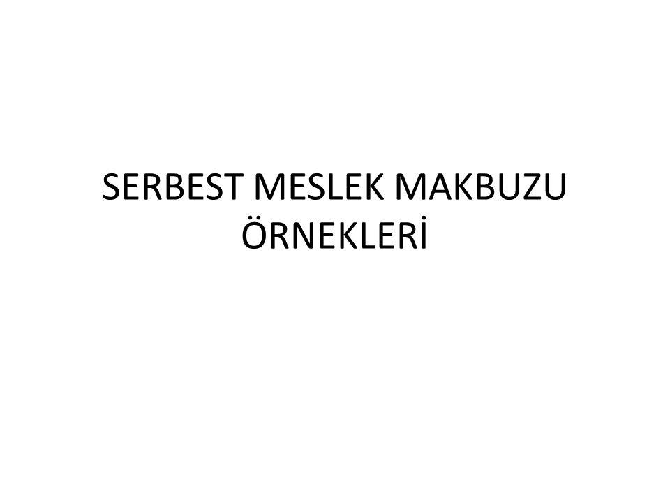 SERBEST MESLEK MAKBUZU ÖRNEKLERİ