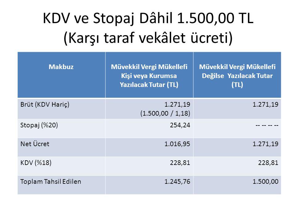 KDV ve Stopaj Dâhil 1.500,00 TL (Karşı taraf vekâlet ücreti)