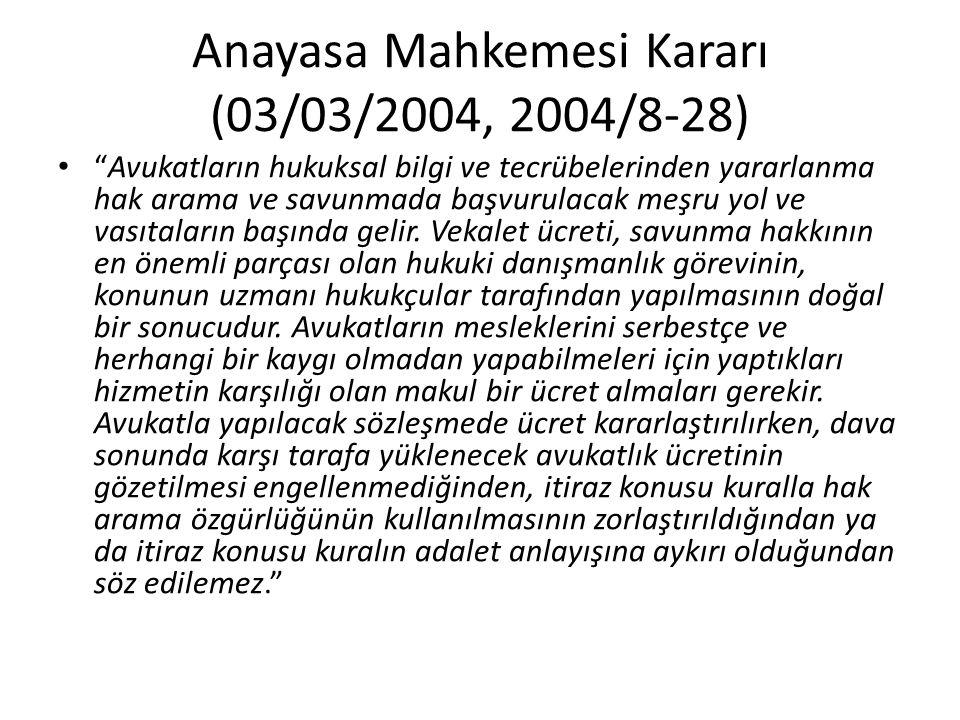 Anayasa Mahkemesi Kararı (03/03/2004, 2004/8-28)