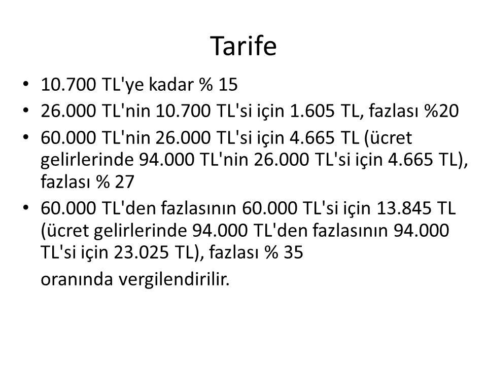 Tarife 10.700 TL ye kadar % 15. 26.000 TL nin 10.700 TL si için 1.605 TL, fazlası %20.