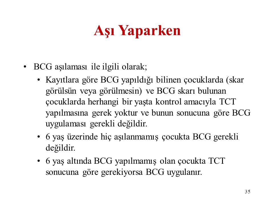 Aşı Yaparken BCG aşılaması ile ilgili olarak;