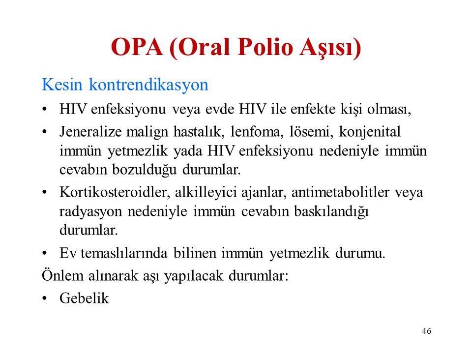 OPA (Oral Polio Aşısı) Kesin kontrendikasyon