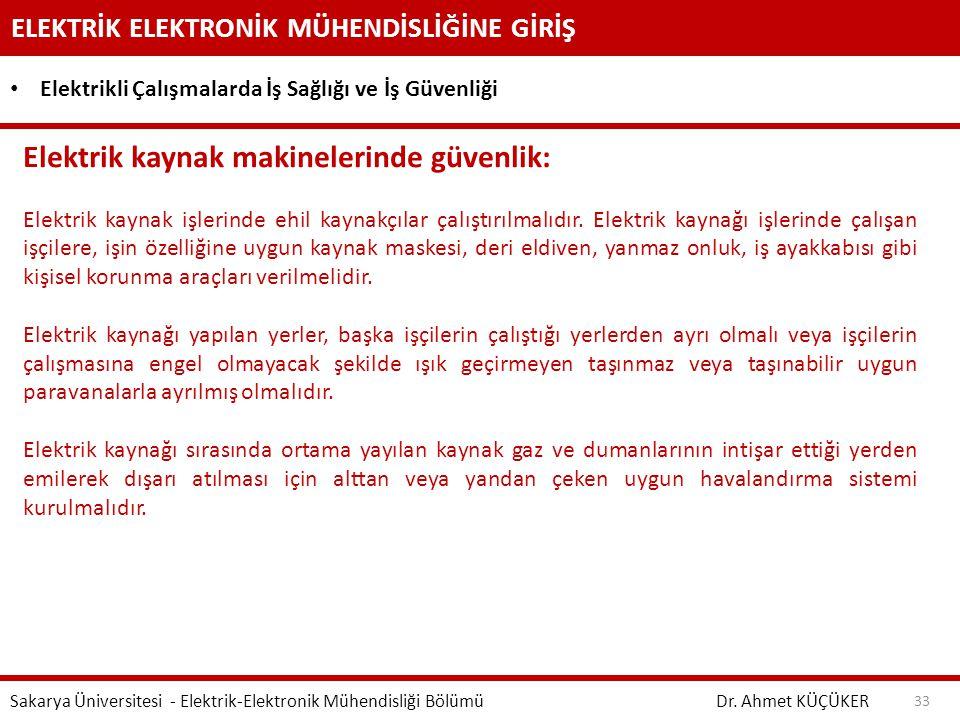 Elektrik kaynak makinelerinde güvenlik: