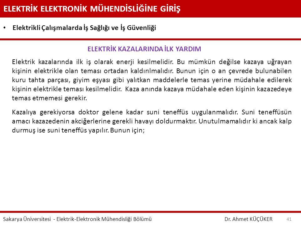 ELEKTRİK KAZALARINDA İLK YARDIM