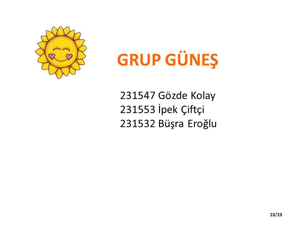 GRUP GÜNEŞ 231547 Gözde Kolay 231553 İpek Çiftçi 231532 Büşra Eroğlu