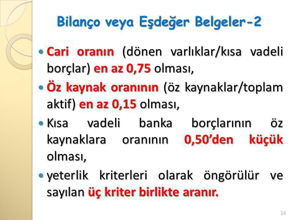 Bilanço veya Eşdeğer Belgeler-2